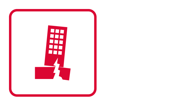 An outlined square contains an abstract icon of a cracked building. It connotes an earthquake to illustrate this type of Weather Emergency.