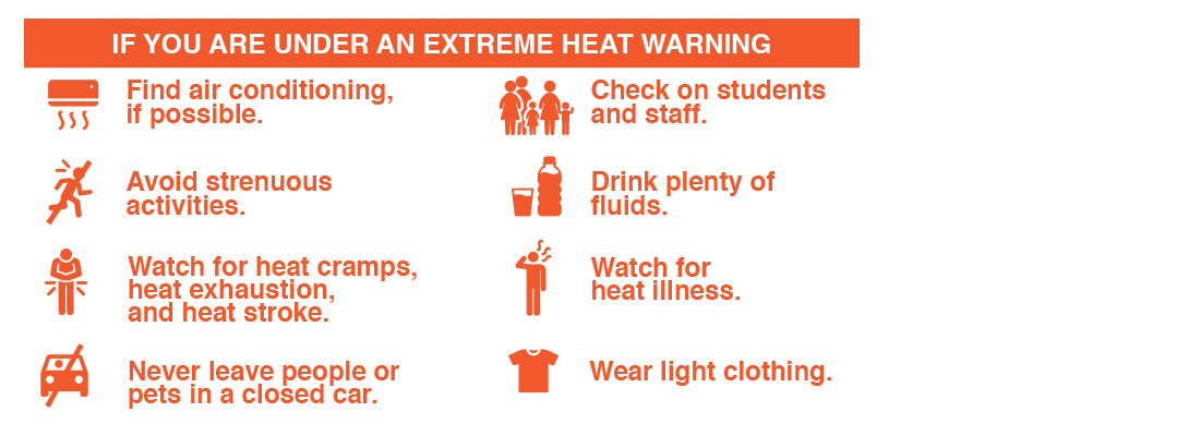 If there is a warning on Extreme Heat follow the next recommendations: Find air conditioning, if possible. Avoid strenuous activities. Watch for heat illness. Wear light clothing. Check on family members and neighbors. Drink plenty of fluids. Watch for heat cramps, heat exhaustion, and heat stroke. Never leave people or pets in a closed car.