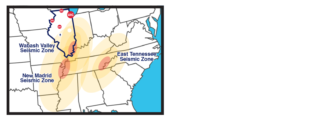 A map of the United States highlights the silhouette of the State of Illinois and shows a yellow gradient to illustrate the impact of the seismic zones