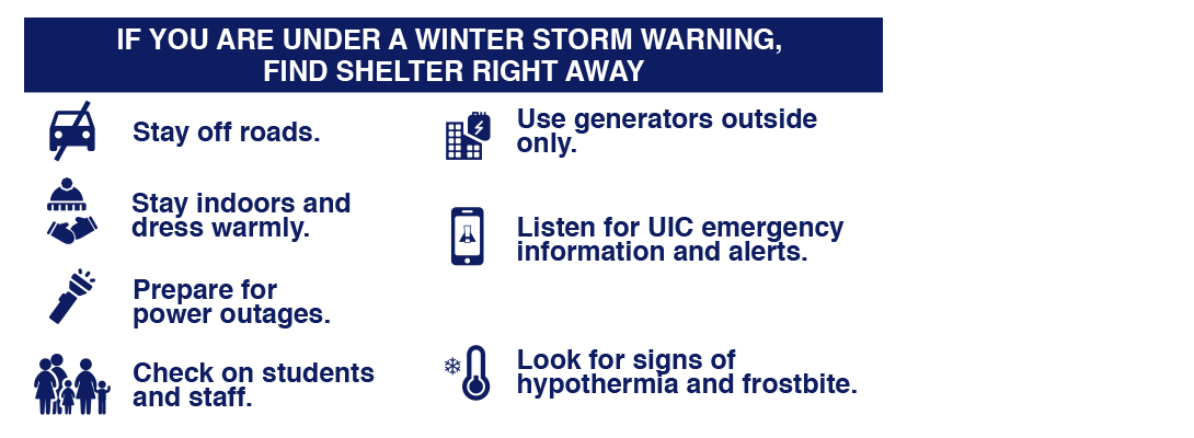 If You Are Under a Winter Storm Warning: Find Shelter Right Away. Stay off roads. Stay indoors and dress warmly. Prepare for power outages.  Check on neighbors. Use generators outside only. Listen for emergency information and alerts. Look for signs of hypothermia and frostbite.