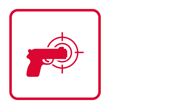 "An outlined square contains an abstract icon and a silhouette of a gun pointing to a target. It connotes the action of shooting to illustrate ""Active Threat"" as part of the Physical Threat Emergency guidelines."