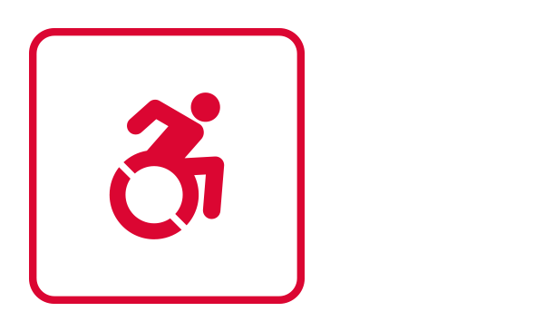 "An outlined square contains the international disability icon going from left to right. It illustrates ""Areas of rescue assistance"" from the category ""Evacuation Procedures"" of the emergency guidelines."