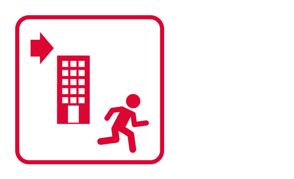 "An outlined square contains abstract icons and silhouettes of a person running from left to right and a building. It illustrates ""Building Evacuation"" from the category ""Evacuation Procedures""of the emergency guidelines."