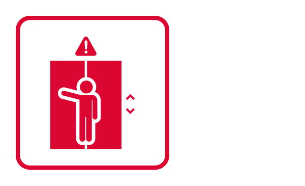 An outlined square contains an abstract icon and the silhouette of a person raising her hand inside an elevator. Above, there is a triangle sign with an exclamation mark.  The conjunction of these images connotes a situation of Elevator Entrapment.