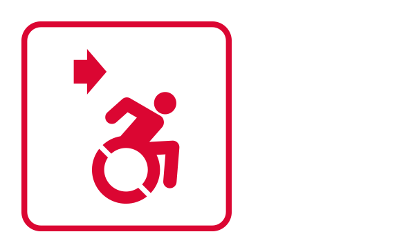 "An outlined square contains the international disability icon, on the left corner, there is an arrow pointing from left to right. It illustrates ""Evacuation of persons with disabilities"" from the category ""Evacuation Procedures"" of the emergency guidelines."