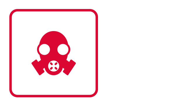 """An outlined square contains the abstract icon and silhouette of a gas mask with three breathers. One circle breather in the front and two more to the sides. It illustrates """"Exposure"""" from the category """"Hazardous Materials Emergencies"""" of the emergency guidelines."""