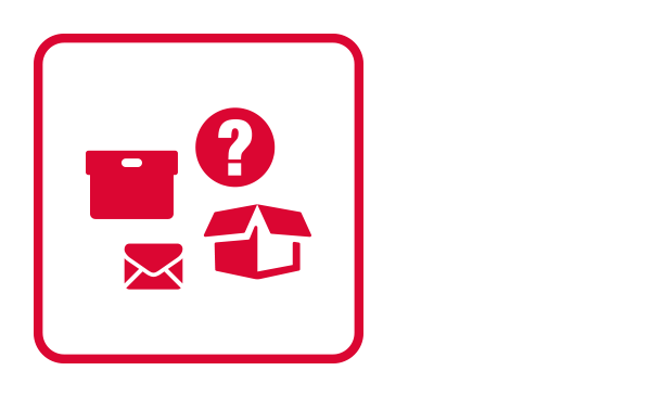 "An outlined square contains abstract icons of an open cardboard box, a archive box, a letter envelope and a question mark inside of a circle. It connotes doubts regarding different packages. It illustrates ""suspicious package"" as part of the Physical Threat Emergency guidelines."