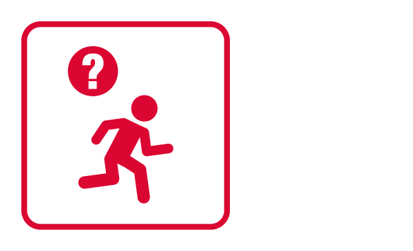 "An outlined square contains an abstract icon and silhouette of a person running from left to right and a question mark inside of a circle that connotes doubts about a person. It illustrates ""Suspicious Person"" as part of the Physical Threat Emergency guidelines."