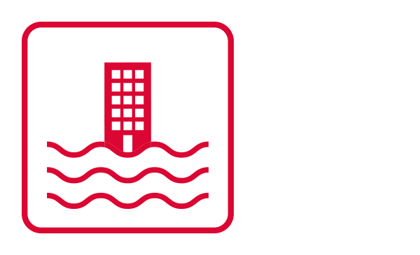 An outlined square contains an abstract icon of a building and water waves. It connotes flooding to illustrate this type of Weather Emergency.