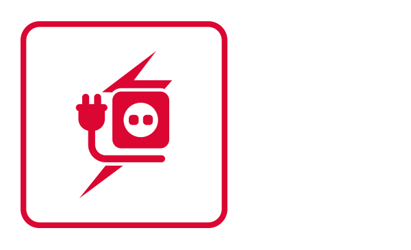 An outlined square contains an abstract icon and the silhouette of a wall power outlet source and a power connector. Behind them, and partially covered, there is a thunderbolt. The conjunction of these images connotes a power outage.