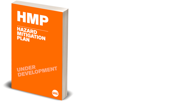 Digital render of an orange book illustrating the document Hazard Mitigation Plan (HMP)