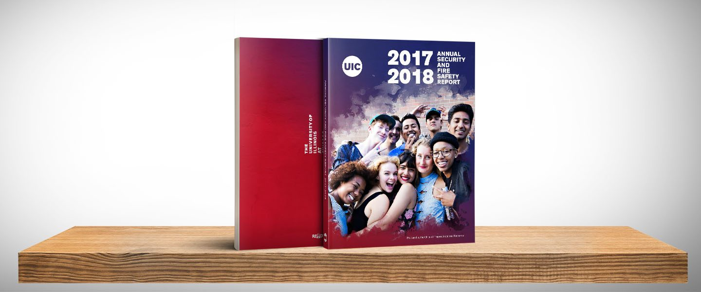 A render of the 2017-2018 Annual Security and Fire Safety Report shows the front and back covers with gradient colors of red to blue and showing ten students looking and smiling to the camera.