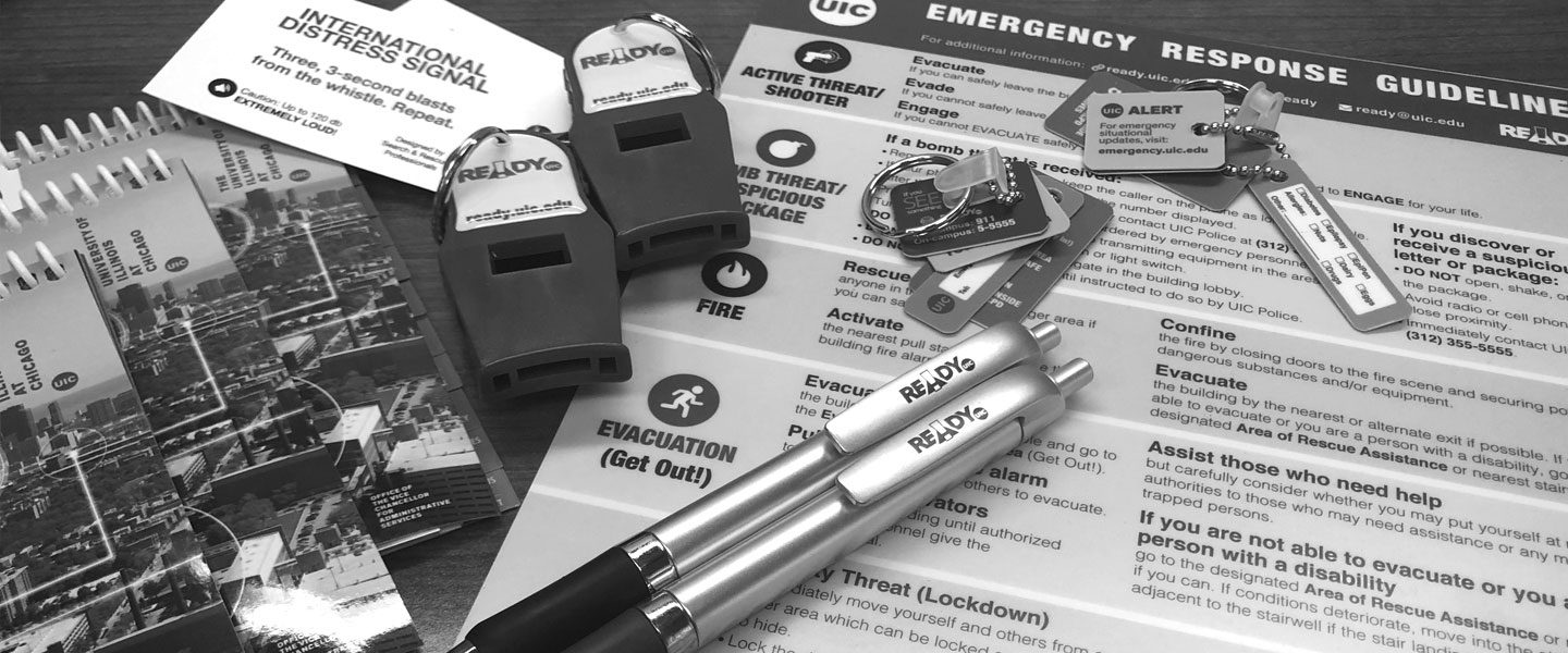Some educational materials produced by the Office of Preparedness and Response are shown, to illustrate the different products that the UIC community can request as part of the different preparedness campaigns