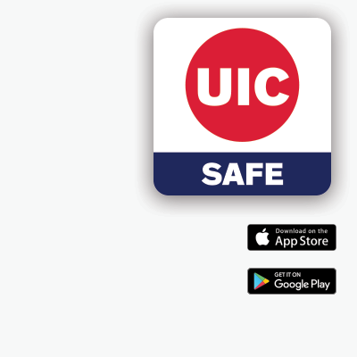 UIC SAFE APP icon showing the App Store logo and the Google Play logo