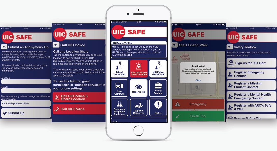 Render of several screens from the UIC SAFE APP