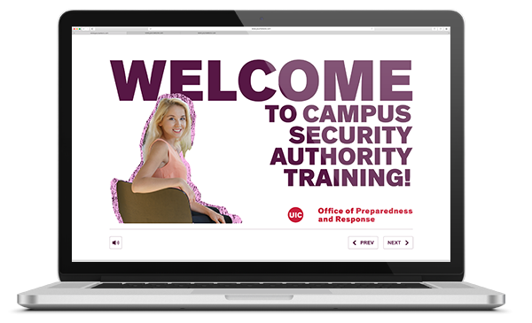 Digital render of a silver laptop showing in the screen the welcome slide of the CSA Training. The screen reads: WELCOME TO THE CAMPUS SECURITY AUTHORITY TRAINING!