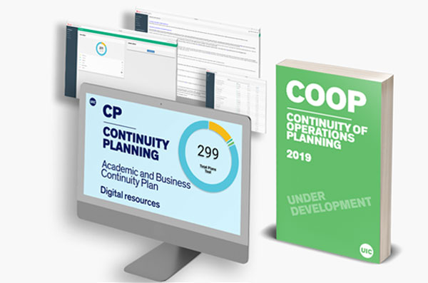 Digital render of the website and a blue book that illustrates the document for the Continuity Planning Tool