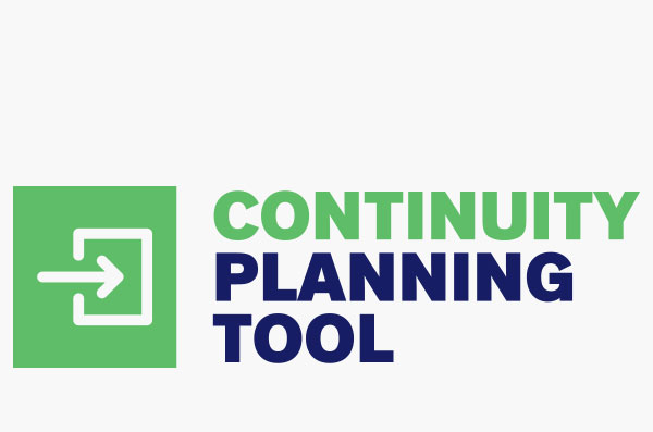 An arrow from left to right is entering a half square. The words Continuity Planning Tool are written next to the image