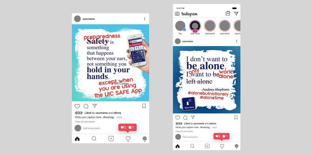 Decorative image. Two digital renders of examples for Instagram posts