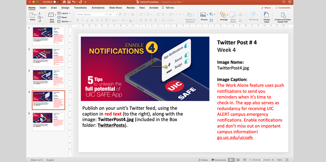 Decorative image. Powerpoint screenshot that shows the twitter feed along with the suggested caption