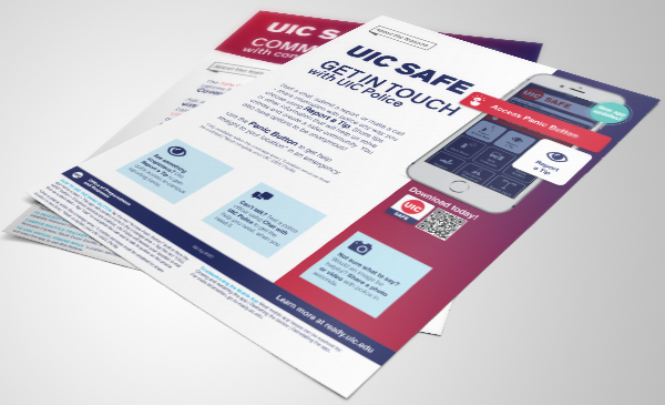 Decorative image. A digital render shows 2 of the product description sheets for UIC SAFE App.