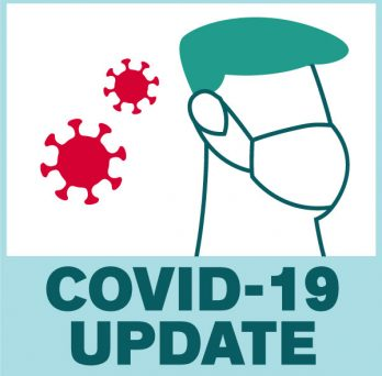 A vectorized abstract image of a profile of a person wears a face mask. On its left, a vectorized abstract image of the coronavirus visual representation. The image reads: Covid-19 Update