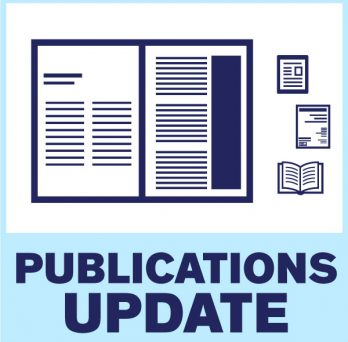 Vectorized image of a book spread, a a digital bool and a physical book represent the wide range of publications that OPR can address to. Image reads: Publications Update