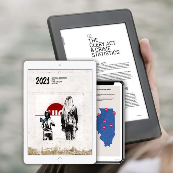 A digital render of the cover of the 2020-2021Annual Security and Fire Safety Report